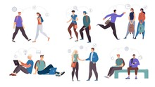 Students Female, Male Characters Flat Vector Set
