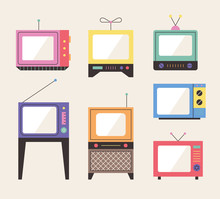 Old Design Televisions. Flat Design Style Minimal Vector Illustration.