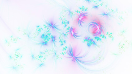 Abstract pink and blue glowing shapes. Fantasy light background. Digital fractal art. 3d rendering.