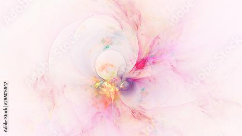 Poster Fractal waves Abstract transparent pink and golden crystal shapes. Fantasy light background. Digital fractal art. 3d rendering.