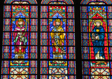 Colorful Stained Glass Windows In  Basilique Saint-Urbain, 13th Century Gothic Church In Troyes, France.