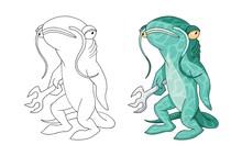 Cartoon Catfish Sea Creature C...
