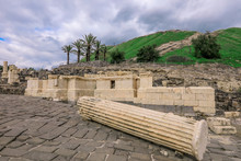 Marble View To The Ancient Scythopolis Ruins Of The Beit She'an, Israel