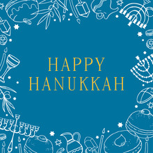 Happy Hanukkah. Rectangular Frame Design Template. Hand Drawn Outline Vector Sketch With Traditional Holiday Objects