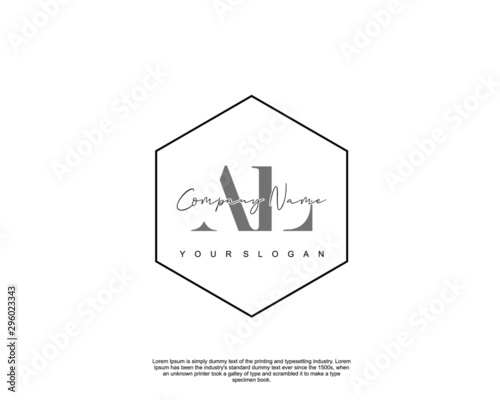 Initial letter AL beauty handwriting logo vector Canvas Print