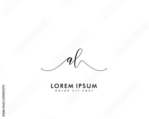 Photo Initial letter AL beauty handwriting logo vector