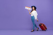 canvas print picture - Asian tourist girl with baggage showing airline boarding pass
