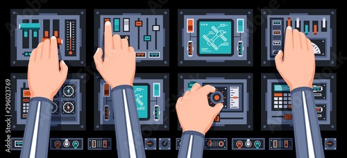 Spaceship control panel with hands of pilots. Spacecraft dashboard with with many control elements. Vector illustration.
