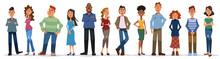 白い背景に立つ多様な人々のセット。笑顔の男性と女性、異なる国籍。フラットな漫画スタイルのカラフルなベクターイラストレーション。