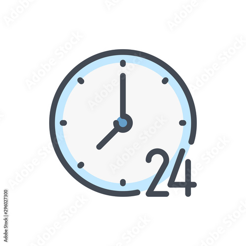 Valokuva 24 hours clock color line icon