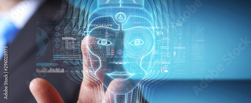 Cuadros en Lienzo Businessman using digital artificial intelligence head interface 3D rendering