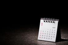 2020 January Calendar On Black Background