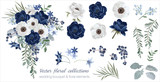 Vector floral set with leaves and flowers. Elements for your compositions, greeting cards or wedding invitations. Anemones