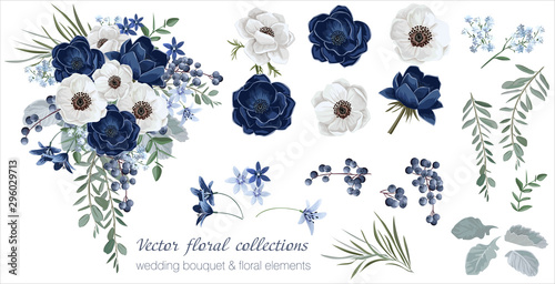 Obraz Vector floral set with leaves and flowers. Elements for your compositions, greeting cards or wedding invitations. Anemones - fototapety do salonu