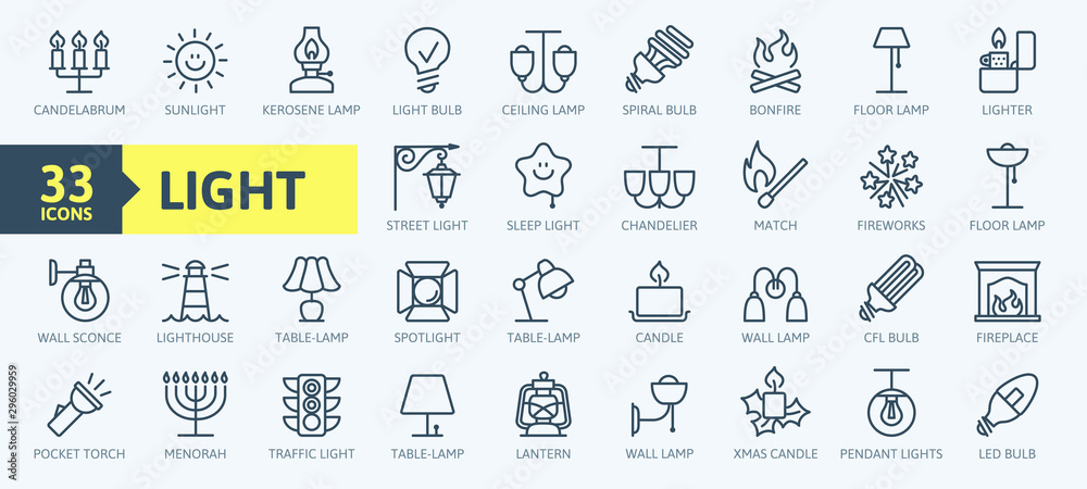 Fototapety, obrazy: Lights, bulb, lamp web icon set - minimal thin line web icon set. Outline icons collection. Simple vector illustration