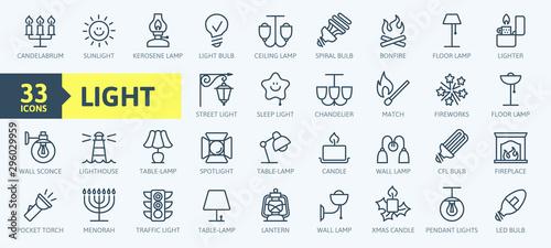 Obraz Lights, bulb, lamp web icon set - minimal thin line web icon set. Outline icons collection. Simple vector illustration - fototapety do salonu