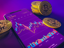 Bitcoin Price Phone App With Candlestick Chart And Golden Coins