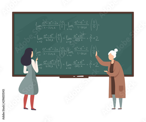 Photo Teacher explains to student algebra on the blackboard vector illustration