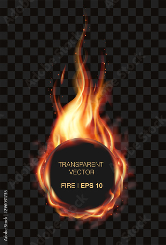 Photo Transparent realistic fire flame frame for your logo or brand