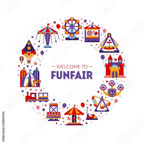 Photo Welcome to Funfair Frame of Circular Shape, Amusement Park Elements Vector Illus