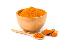 Fresh Turmeric Root ( Known As Curcumin, Curcuma Longa Linn) And Turmeric Powder In Wooden Bowl  Isolated On White Background. Indian Oriental Low Cholesterol Spices. Medicine Herbal Plant Concept.