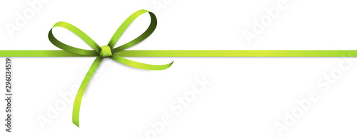 Photo green colored ribbon bow