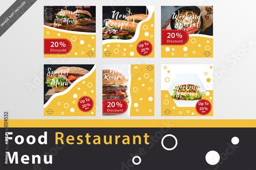 Instagram Post Food Restaurant Menu tamplates. Beground design for sosial media post.  - 296034532