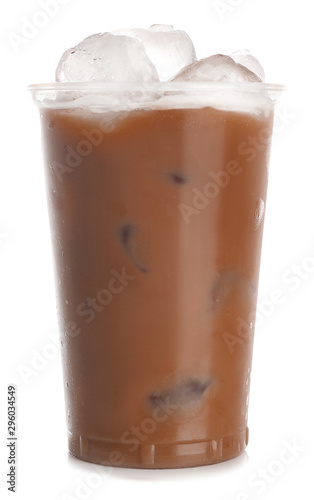 Wall Murals Chocolate Cup of tasty frappe coffee on white background