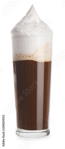 Photo sur Toile Pays d Asie Glass of tasty frappe coffee on white background
