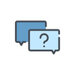 Question message color line icon. Chat boxes with question mark vector outline colorful sign.