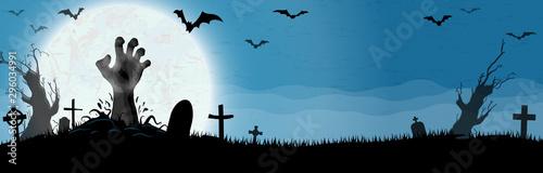 Poster de jardin Route Halloween zombie hands in front of full moon