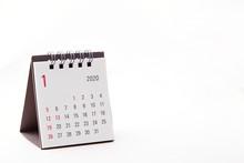2020 January Calendar On White Background
