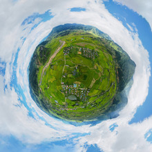 Little Planet 360 Degree Sphere. Panorama Of Fansipan Mountain With Paddy Rice Terraces, Green Agricultural Fields In Rural Area, Hills Valley, Vietnam. Nature Landscape Background.