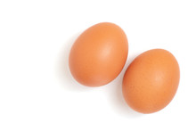 Two Eggs Are Isolated On A White Background. Top View
