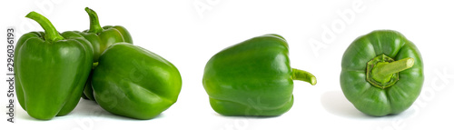 Collage of sweet green bell peppers isolated on white background cutout Fototapeta