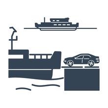 Black Icon Ferry, Car, Transportation