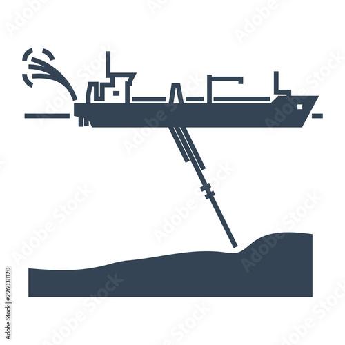 black icon dredger ship, waterway Tapéta, Fotótapéta