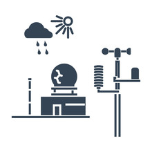Black Icon Weather Station, Ra...