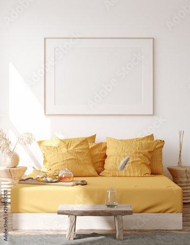 Mock up frame, wall in home interior background, Bohemian bedroom, Scandinavian style, 3d render
