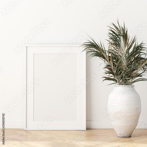Foto auf AluDibond Boho-Stil Mock up poster frame in modern living room interior. Interior Scandinavian style. 3d render