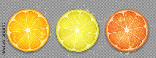 Canvas Slice of citrus fruit lemon, orange and grapefruit.