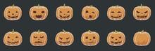 Simple Pumpkin Flat Toon Vector Drawing For Kids