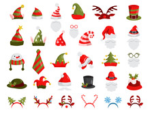 Christmas Hat Set. Collection Of Santa Claus Decoration