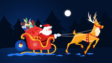 Santa Claus In Sleigh And Running Deer. Christmas Character