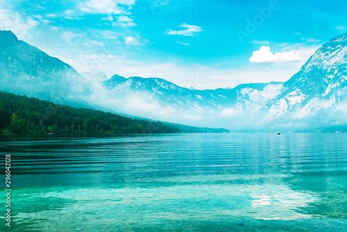 Printed kitchen splashbacks Turquoise Lake Bohinj, idyllic summer landscape