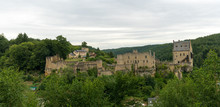Panorama View Of The Historic Castle Of Larochette In The Village Of Larochette In The  Canton Of Mersch In Luxembourg