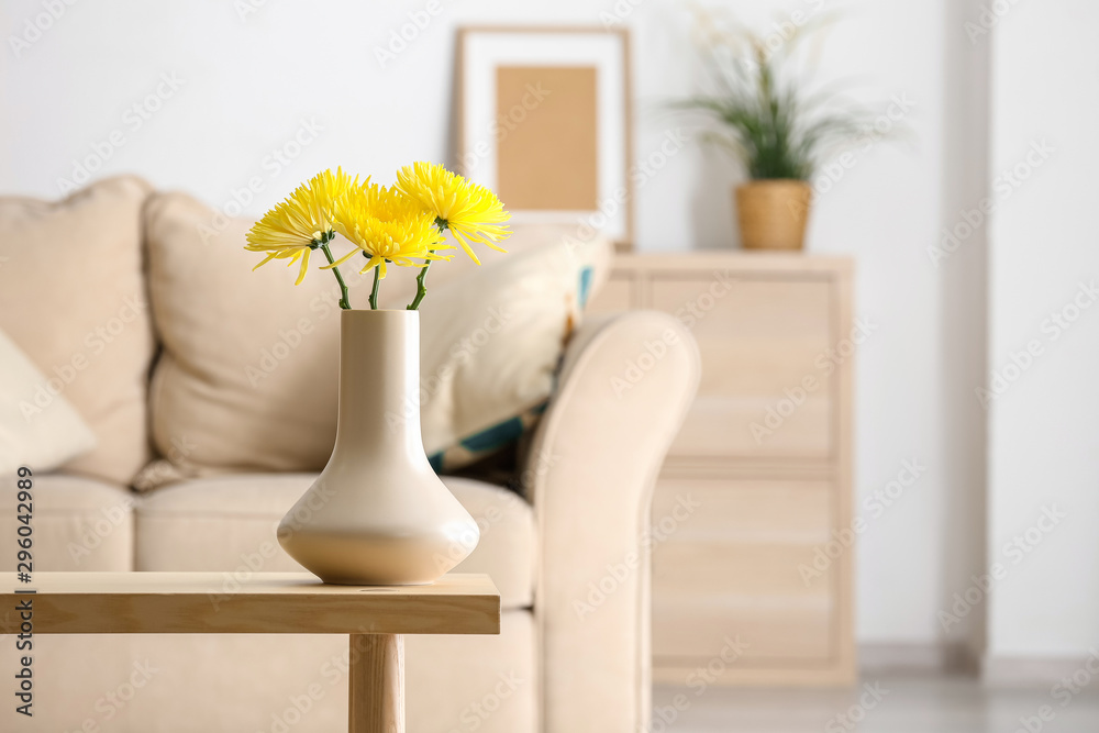 Fototapety, obrazy: Beautiful chrysanthemum flowers in vase on table in room