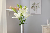 Beautiful lily flowers in vase in room