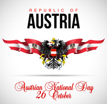 National Day Of Austria. Vector Festive Banner With Flags Of Austria.