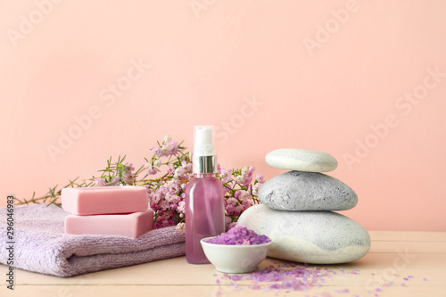 Composition with spa items on table
